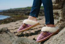 Snow Paw Harris Tweed Womens Sheepskin Slippers / https://snowpawuk.com/women/womens-slippers.html
