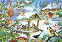 Tél: madáretetés, hógolyózás