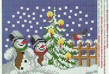 sneeuwmannen / patroontjes borduren