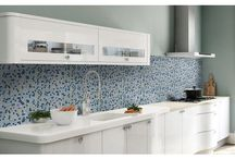 Kitchen Backsplash / Design inspiration for kitchen backsplashes using glass, stone, and mosaic tiles.