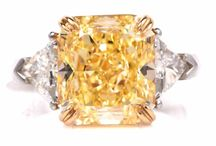 Canary Diamond Engagement Ring / Canary and Diamond Antique Engagement rings.