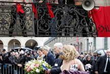 "FEMEN sextremists attacked the fascist Marine Le Pen / Complex attack, composed of symbolic topless assault on the leader of ""Front National"" Marine Le Pen and disruption of live broadcast of her speech, took place in Paris during the fascist rally by the monument to Joan of Arc. Nazi henchmen of Le Pen have violently stopped FEMEN sextremists."