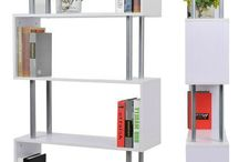 White Wooden Bookcase Tall Storage Unit S Shape Cabinet Home Office Furniture
