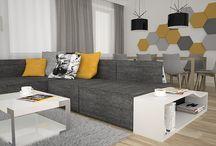 projekt wnętrza salonu / nowoczesny salon, akcenty szare i żółte, zabudowa tv, zabudowa przy sofie, #drewnowsalonie #nowoczesnysalon