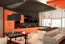 Интерьер.Кухня.Оранжевый