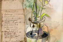 ~Watercolor-Mixed media~ / watercolor mixed ,aquarelle, aquarel,collage art