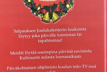 Joulukalenteri 1.-17.12.2015 / Salpauksen Matkailuopiskelijat suunnittelivat, tuottivat ja toteuttivat Joulukalenterin 1.- 18.12.2015. Jokaisena arkipäivänä joulukalenterin luukku avattiin Kulinaaritalon aulassa, välillä liikuttiin laajemminkin koulun alueella ja käytävillä ja Ravintola Kulinaarin ja Shop Cafen tiloissa.