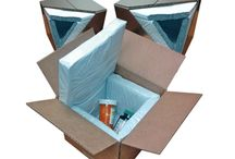 Thermal Box Liner / Cleverly designed super insulating box liners are reversible to allow frozen shipments utilizing dry ice or refrigerated shipments kept cool with gel packs. Nifty system.