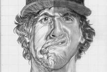 sketsa wajah dengan ekspresi unik