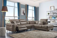 Modern Genuine Leather Brown Sectional