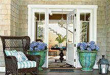 Doors, Entryways & Staircases / white, aqua, lots of glass, love French & Dutch doors, grand staircases