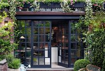 Exterior makeover ideas / We currently have brick exterior with white trim but I really like the idea of either black painted brick or black window trim