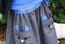 юбка для девочки .карман с кошкой