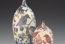 Sgraffito ceramics / These are some very recent pieces of work all inspired by English birds and plant life