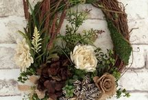 wreaths and dry flower arrangements