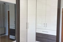 Dark Wood and White Corner Fitted Wardrobe
