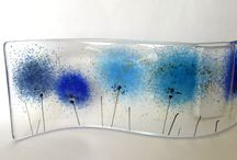 Fused glass vases / Fused glass vases - curved and free standing with a pocket (water tight) for flowers.