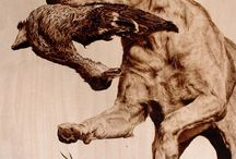 Woodburning dogs, cats, squirrels