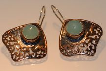 Byzantine  / ancient style earrings 925 sterling silver chalcedony stone