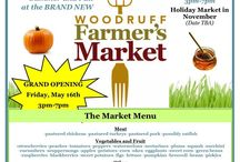 Main Street Woodruff Farmer's Market / The market will be every Thursday afternoon from 3-7pm until October 30th, 2014. The Market will have local produce, arts and crafts, and music! We are encouraging backyard growers to participate in the market as well as large farms. The fee to vend is only $5 per week or $50 for the full season. The registration form is important so that we will be able to promote your items and will know how many vendors to expect each week. contact Alyson Leslie at aleslie@cityofwoodruff.com to participate.