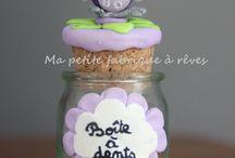 Créations en pâte FIMO / De petites créations en pâte FIMO à offrir en cadeau de naissance, en cadeau de fin d'année pour la maîtresse.  ainsi que de petites boîtes à dents