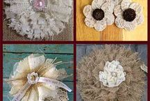 Lace ,Ribbon and Burlap flowers