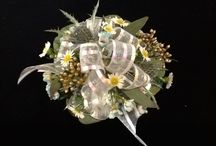 Unusual Blue White and Yellow corsage and bout