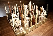 Futuristic cities / Handmade creations from seven kinds of wood.  http://anastasiadisdesign.gr
