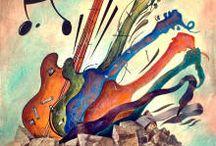 music guitar art (painting)