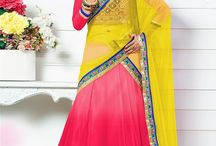 Bright & Beautiful Lehengas / Scintillating bright colored lehenga cholis. Floral motifs and embellishments add to the beauty of the design. Bright & beautiful lehengas can be shopped at www.cbazaar.com