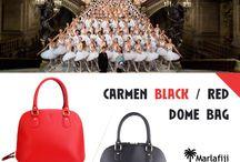 Marla Fiji - Carmen black and Red - Italian leather bag