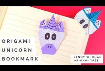 Unicornio origami / Marcador de libro Origami