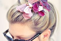 leather earrings and hair pins