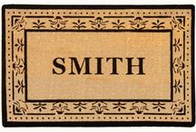 """Personalized Luxury Coir (Natural) / As Seen on """"O At Home"""" Magazine. 2"""" Thick Profile.  Easily cleaned with a good shaking or vacuuming Personalization and border are painted Upper case font is in the Classic Georgia style Larger font sizes upon request"""