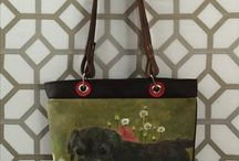 Dogs, Love, Art & Bags / painting dogs on leather bags