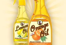 Orange Oil and Lemon Oil / Use Howard Orange Oil and Lemon Oil on all wood surfaces including kitchen cabinets, tables, chairs, desks, paneling, and antiques. These oils will help keep your wood from drying out while restoring depth of grain and natural beauty to the wood. They are both easy to use and excellent for polishing, conditioning, and nourishing all wood surfaces.