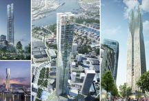 Torres / Colección de modernos rascacielos. Algunos ya construidos, otros en proyecto, y algunos simplemente se quedaron en fabulosas propuestas.