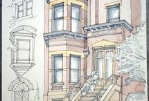 Urban cityscapes/ Watercolor sketches and illustrations