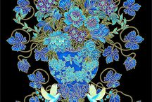 Timeless Treasures Collections / Gold, Navy, Azure, Plume, Turquoise & Black