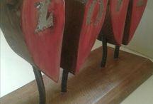 madera reciclada y letras chapa lata refresco