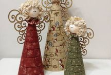 anjos com  carretel  e tecido