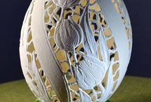 Pysanky egg - european egg art / Pysanky egg carved BJGoleń