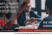 MENA Properties Careers / Be part of our dynamic team.  MENA Properties Services LLC is looking for Professional Real Estate Consultants with local market knowledge. You are your own boss and you can manage your own time and earn as much money as the effort you put in.