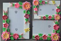 Фоторамки c цветами из лент и ткани (Flower photo frame)