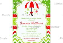 Snowflake Christmas Baby Shower Sprinkle / This collection features a red umbrella with traditional falling snowflakes. The background consists of white snowflakes on green, a red polka dot ribbon with a snowflake border on bright green and christmas chevrons.