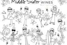Middle Sister Coloring Series / We have created a series of grown up coloring pages! Download, print, pour wine, color, chill! http://winesisterhood.com/middle-sister-wines-coloring-book/