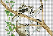 Cross stitch - raccoons