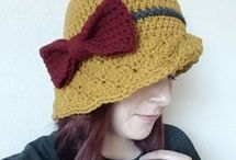 crochet hats and bags