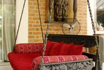 Furniture, Footstools, Bohemian Ethnic / Bohemian Furniture, Ethnic fabric style footstools