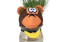 Pet U Grow / Grappige figuurtjes waar gras (haar) uit hun hoofd groeit.